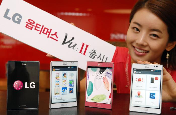 LG전자는 28일 5인치 대화면폰 `옵티머스뷰2`를 출시한다.