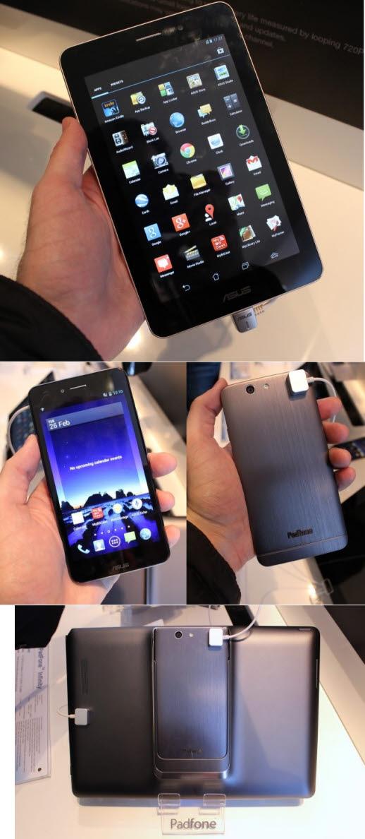 사진 위 : 폰패드(7인치 전화 통화 가능 태블릿)사진 아래 : 패드폰 인피니티(태블릿 겸용 스마트폰)이미지 출처 : http://arstechnica.com/gadgets/2013/02/phone-tablets-and-tablet-phones-asus-fonepad-and-padfone-infinity-hands-on/
