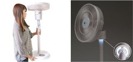 ▲ DC모터 탑재로 가벼워진 중량과 LED 야간 간접조명이 기능의 '미코노스 에어로팬'