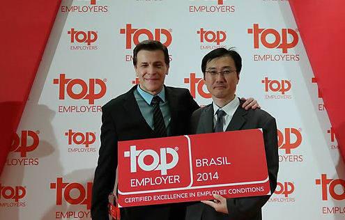 삼성전자는 글로벌 인사전략 평가 기관인 우수고용협회(Top Employers Institute)로부터 2014 브라질 최고 고용기업으로 선정됐다.