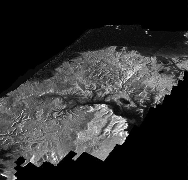 토성의 가장 큰 달인 타이탄의 탄화수소로 된 바다 크라켄 메어의 모습.<사진=나사/제트추진연구소>