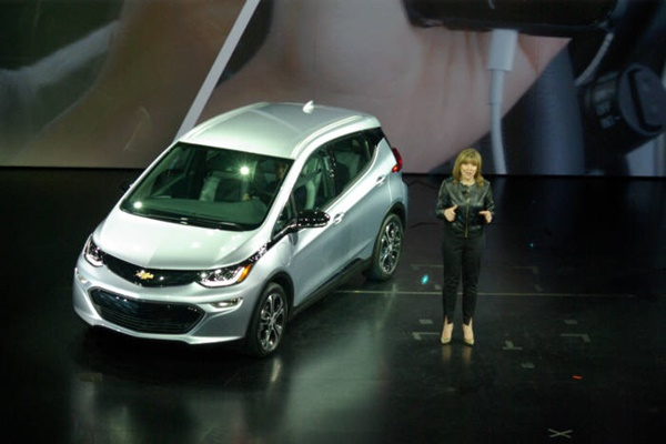 Chairman Mary Barra of GM and next-generation electric vehicle called Bolt