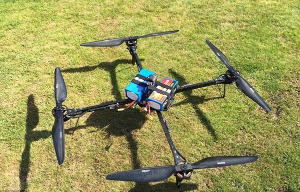 인듀로(Enduro)로 명명된 이 드론은 오큐에어사가 조종했다 영국 불칸 UAV에 의해 제작됐다. T모터와 블레이드, 그리고 22Ah의 배터리가 사용됐다. 사진=오큐에어