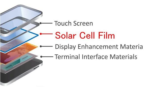 교세라의 태양광 충전 패널과 기존 배터리를 함께 사용하는 스마트폰. 사진=교세라