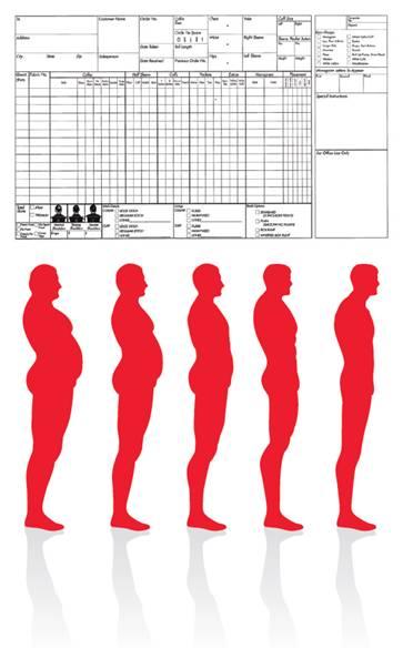 고객의 인체 치수를 측정할 때 사용하는 측정표, 수작업으로 해야 하는 불편함이 있다.