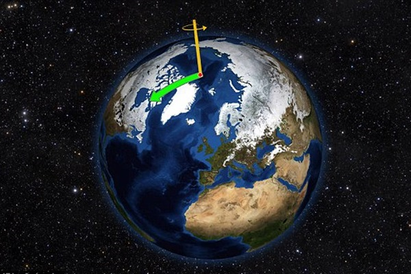 지구온난화가 지축이동에 따른 지구의 흔들림 운동까지 바꿨다. 사이언스어드밴스 최근호는 나사의 연구결과를 인용, 지구온난화가 북극 축의 위치를 바꾸면서 지구진동(wobble)방식까지 바꾸고 있다고 전했다. 사진=나사