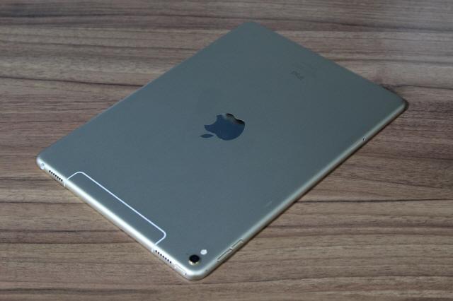 애플 9.7인치 아이패드  프로 후면. 상단 부분의 안테나선 디자인이 달라졌다.