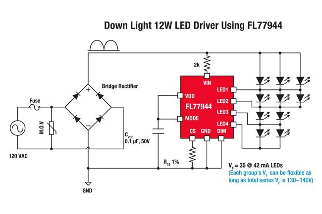 페어차일드의 FL77944 LED 다이렉트 AC 드라이브 솔루션 회로도