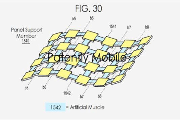 A patent related to 'foldable phone' that is applied with a concept of 'robotic muscles' registered by Samsung Electronics to U.S. Patent Office (Picture = Patently Apple)