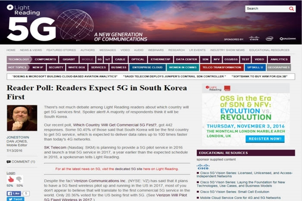 After an American telecommunication media called Light Reading conducted a survey on 442 telecommunication experts, 50.45% (223) of them chose South Korea as the first country to commercialize 5G service.