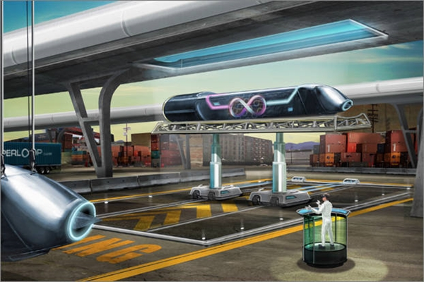 Image of Hyperloop's capsule train and terminal