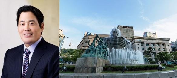 신세계그룹 정용진 부회장과 서울 면ㅇ동 한국은행 앞 분수광장