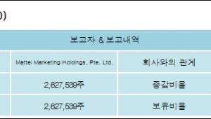 [손오공 지분 변동] Mattel Marketing Holdings, Pte. Ltd.11