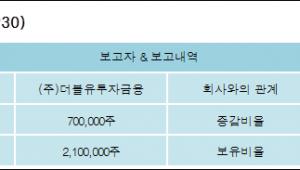 [이그잭스 지분 변동] (주)더블유투자금융3.85%p 증가, 11.54% 보유