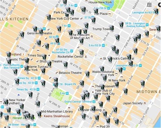 맨해튼 중심지 스타벅스 위치