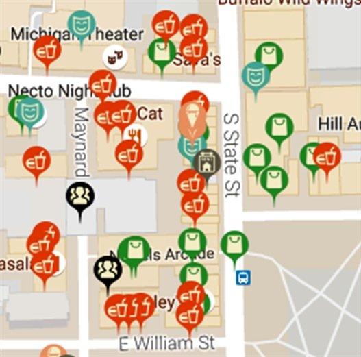 미시간 대학교 근처에 음식점이 많다는 것을 빨간색 표시로 확인할 수 있다