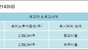 [세미콘라이트 지분 변동] 토러스투자증권(주)20.5%p 증가, 20.5% 보유