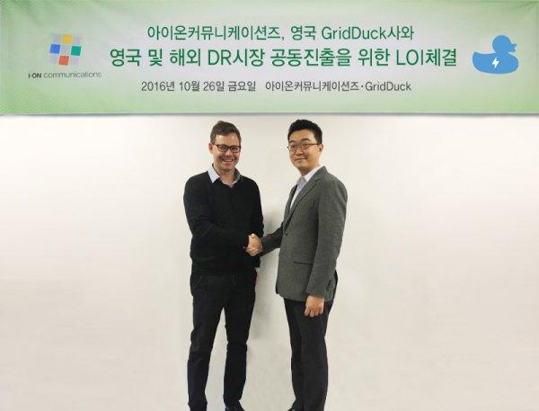 GridDuck사의 Managing Director Gregor Hoefter, 아이온커뮤니케이션즈 오재철 사장]