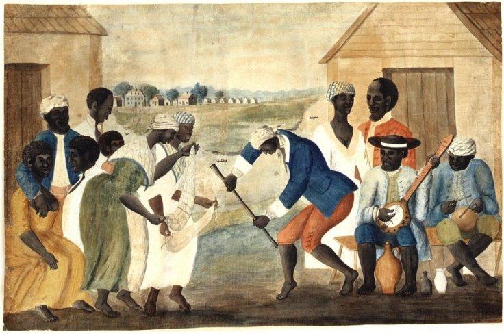 흑인 노예자 노는 모습이 담긴 미국 민화 (1790년)