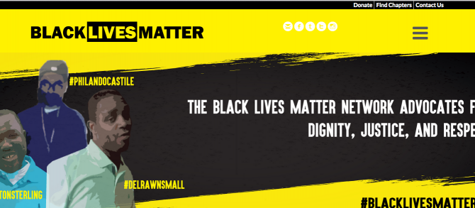 2015년에 확산되기 시작한 '흑인 생명이 중요하다!'(Black Lives Matter) 운동 웹사이트