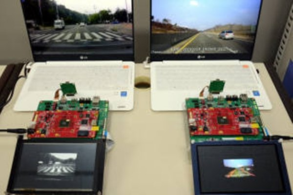 Demonstration of ETRI's Aldebaran Processor recognizing cars and lanes