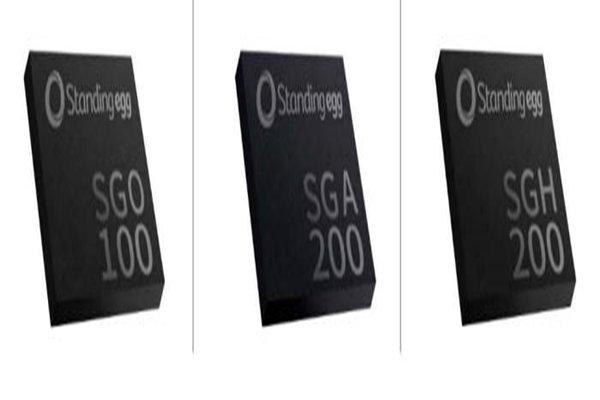 Starting from the left: 9-component (acceleration sensor, terrestrial magnetism sensor, and gyroscopeMEMS sensor chip called SGO100, acceleration sensor called SGA200, sensor hub chip called SGH200