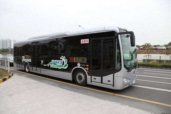 BYD's low-floor electric bus called 'K9' that is expected to be seen in South Korea in 2017