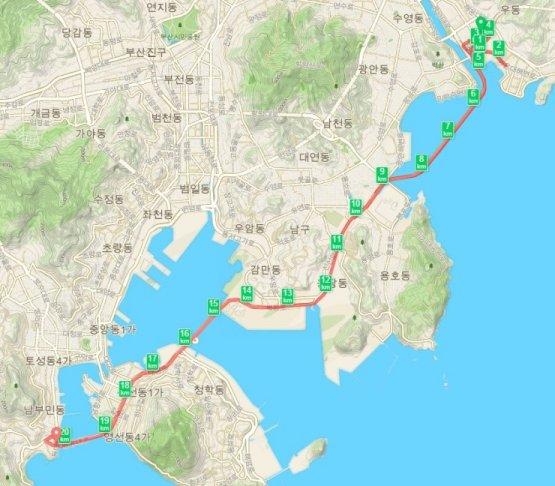 부산 바다 마라톤 대회 하프 코스