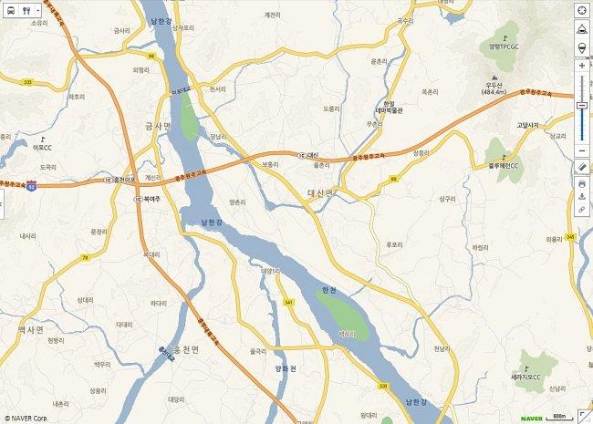 그림 7. 네이버지도에 표시된 지명