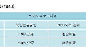 [로봇뉴스][롯데하이마트 지분 변동] 국민연금공단 외 1명 5.03%p 증가, 5.03% 보유