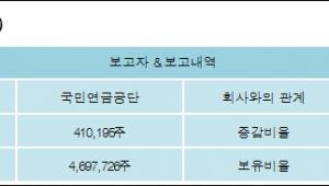 [로봇뉴스][휴켐스 지분 변동] 국민연금공단 외 1명 1%p 증가, 11.49% 보유