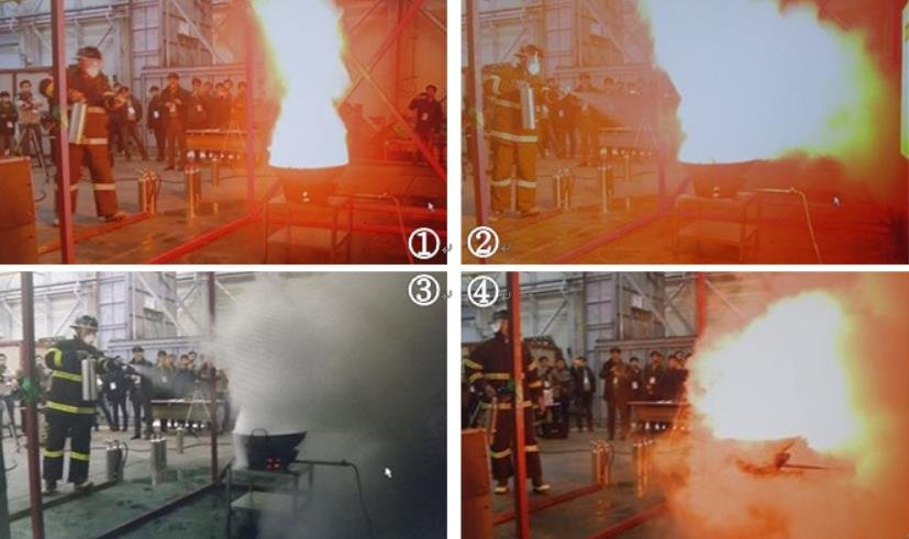 일반 소화기를 사용한 기름화재 진압 과정. 요란하게 연기가 나고 불이 꺼진 것 같지만 과열된 기름 자체 온도로 다시 발화한다.