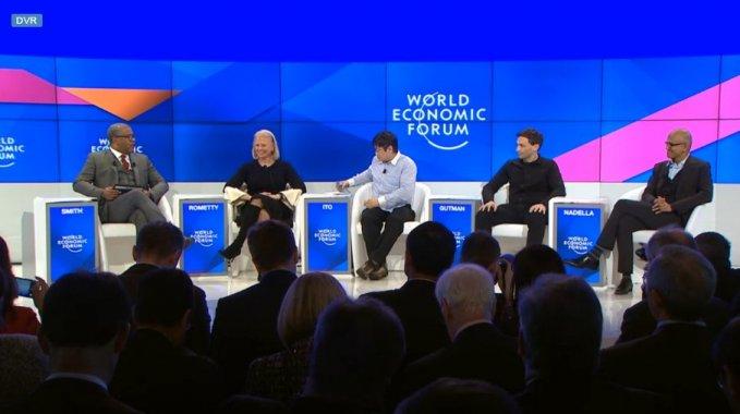 세계경제포럼 2017(World Economy Forum 2017)에서 인공지능에 대한 토론을 진행하고 있는 패널들