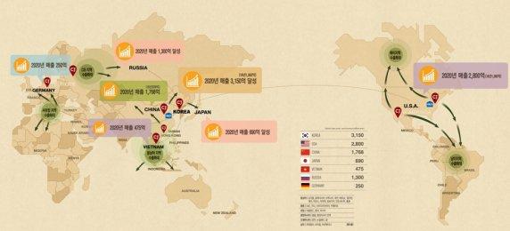 CJ제일제당이 '비비고 만두'를 앞세워 '식문화 한류'를 이끌며 세계 만두 시장 1위를 달성하겠다는 계획을 밝혔다. 비비고 만두 세계 진출 현황. 자료=CJ제일제당 제공
