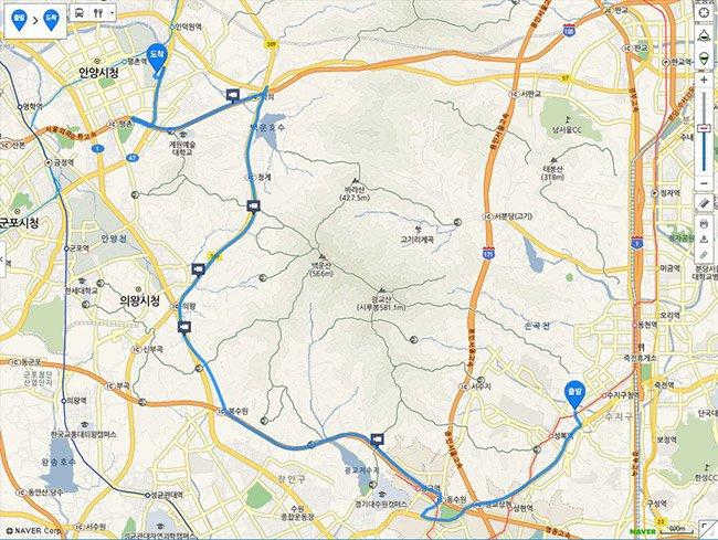 그림2  경로 1 : 유료도로를 포함하고 있는 최단시간 코스
