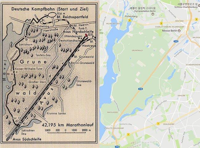 1936년 마라톤 코스와 구글맵으로 본 현제 지도
