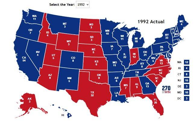 1992년 선거 지도. 1992년 선거에서  민주당 빌 클린턴 후보가 승리한 주는 청색이다.