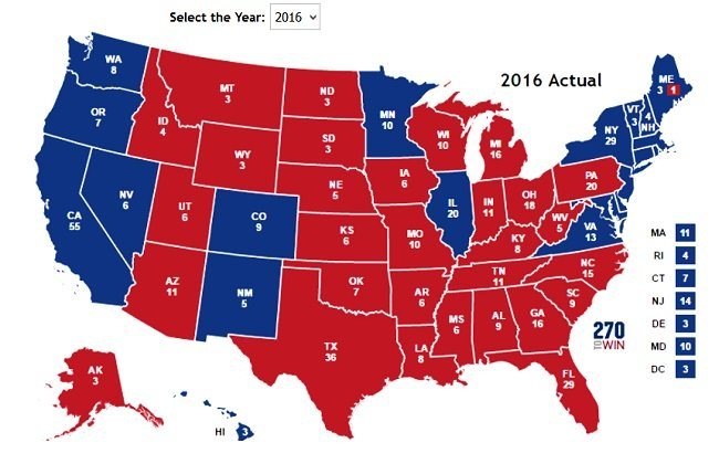 2016년 선거 지도. 2016년 선거에서  민주당 힐러리 클린턴 후보가 승리한 주는 청색이다.
