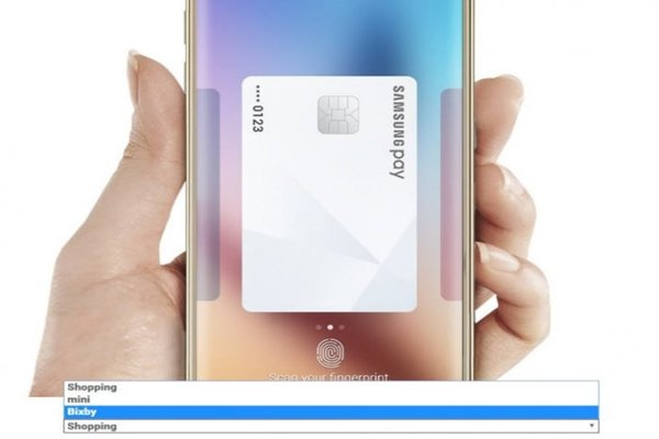 Picture of using Samsung Pay through Bixby