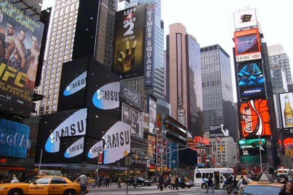 Samsung Electronics held a launching event for 3D LED TV at Times Square in New York in 2010.