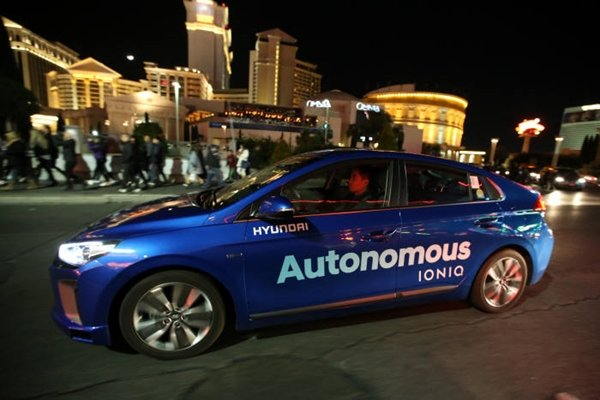 Above picture shows Hyundai Motor Company demonstrating its IONIQ-based self-driving car driving through Las Vegas during CES in last January.