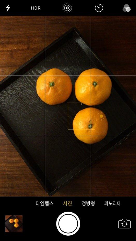 스마트폰 사진 촬영 예, 스마트폰으로 찍으려는 사물을 터치하면 네모 박스가 나타난다. 이 박스를 이용해서 원하는 사진을 찍을 수 있다.