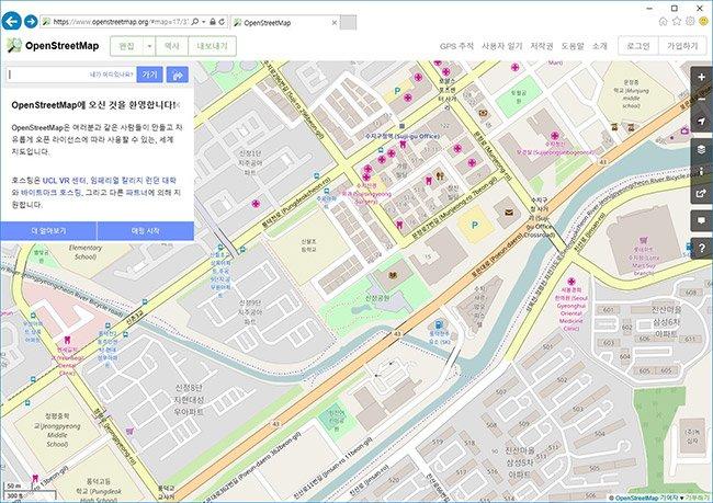 그림1. 국내 포켓몬고용 지도 데이터로 활용된 것으로 알려진 오픈스트리트맵 https://www.openstreetmap.org