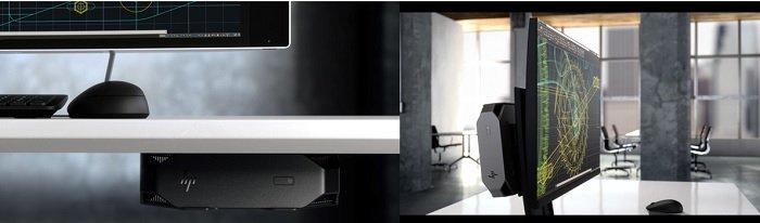 HP Z2 미니 마운트 모습 - 책상 아래, 모니터 뒷면