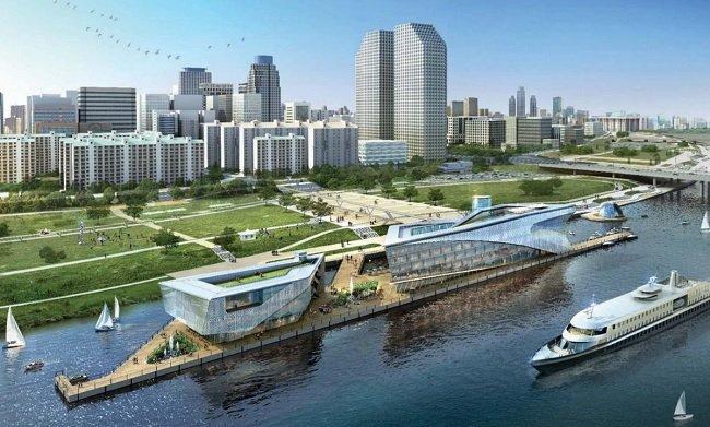 미래의 한강에서 볼 수 있는 수상호텔의 예 (여의도 국제여객터미널, 수상호텔_경암건축 윤창기)