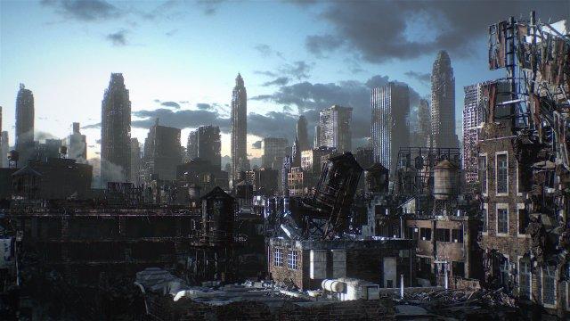 황폐해진 미래의 도시 (자료출처 : 영화 애플시드에서 스크린 캡쳐, 네이버)