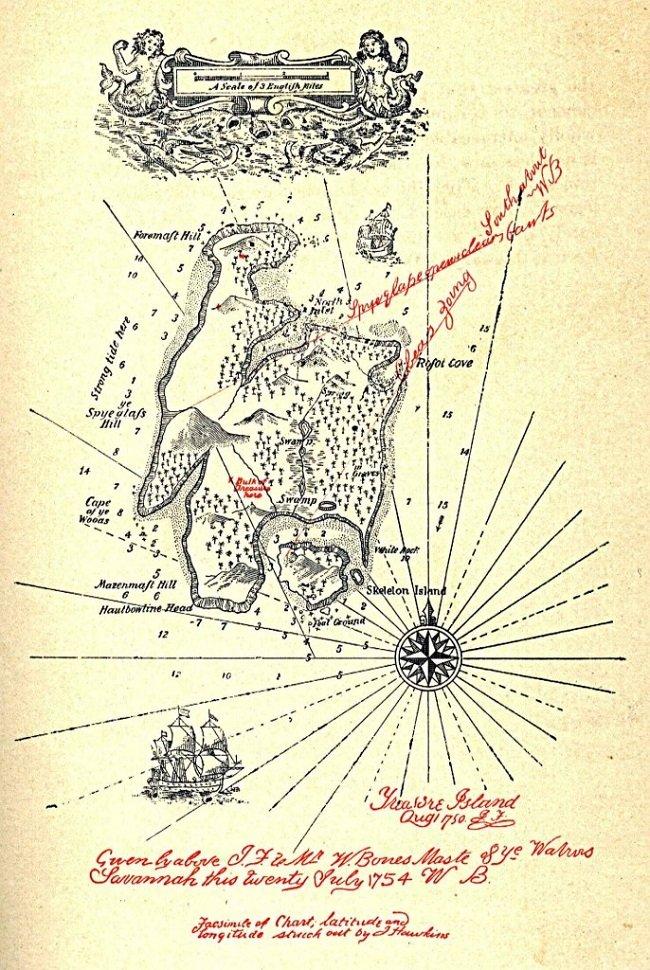 그림 1.  소설에 앞서 지도가 먼저 그려진 것으로 알려져 있는 스티븐슨의 '보물섬' 지도