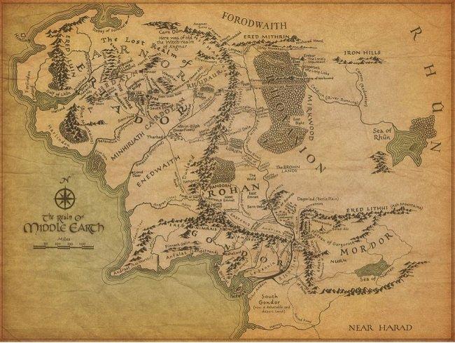 그림 3.   '반지의 제왕'에 나오는 중간계 지도는 그 자체만으로도 이미 상품으로서의 가치를 지니고 있다.