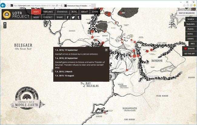 그림 4.  '반지의 제왕'의 중간계 지도는 아예 인터넷 버전으로도 나와 있다. 주요 포인트에는 사건 요약된 연보가 담겨 있다. http://lotrproject.com/map