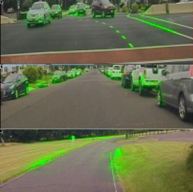 엔비디아의 최신 백서에 수록된 인공지능 차량의 판단 과정 내부 시각도 (제공: 엔비디아)